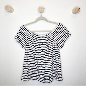 Lucky Brand striped loose fit off shoulder top